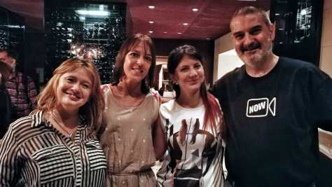 Con Andrea Gentil, Andrea Catalano e Irina Sternik. Vinoteca del Palacio Duhau Park Hyatt Hotel, Buenos Aires, marzo.