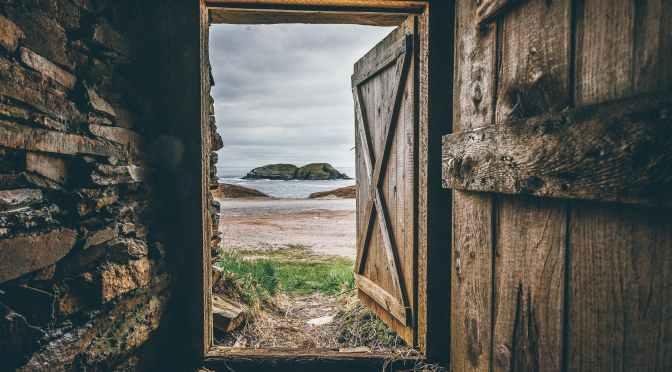 brown wooden opened door shed