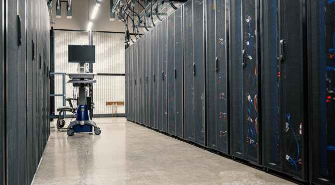 server racks in modern data center