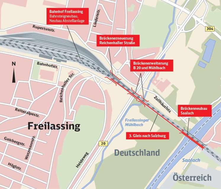Übersichtskarte: Der Bahnhof Freilassing und die einzelnen Baustellen entlang der Strecke Richtung Salzburg (Grafik: © DB AG)