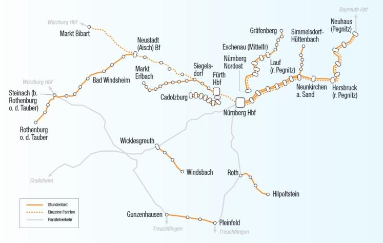 BEG, DB Regio Franken, Dieselnetz Nürnberg, Karte