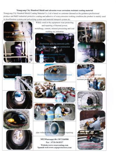 Typical application of repairing wear equipment from thermal power,cement,coal washing and mineral processing