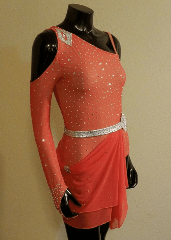 Coral two piece Latin salsa dress with jeweled leotard