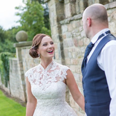 Happy bride at Wood Hall weddings