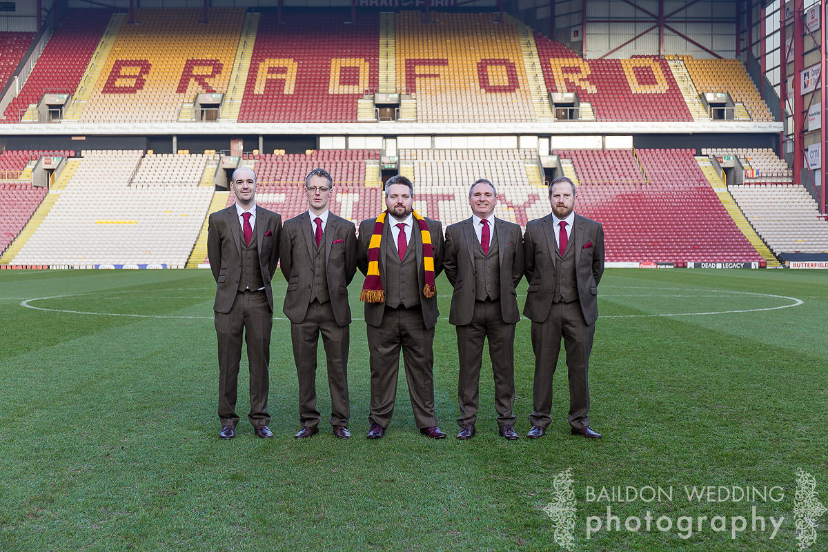 Groom and ushers at bradford city football club before the wedding