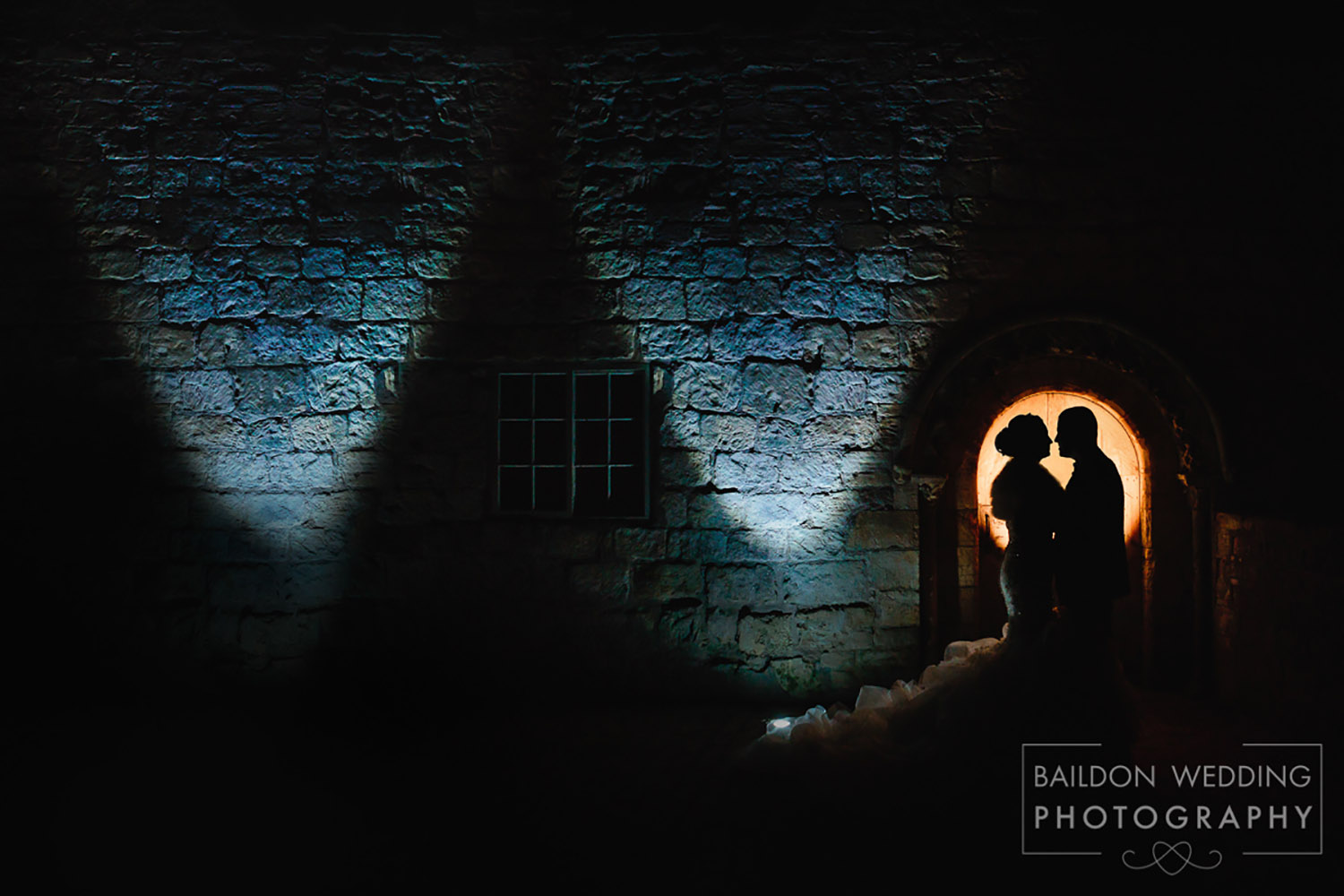 Priory Cottages wedding photograph Leeds at night