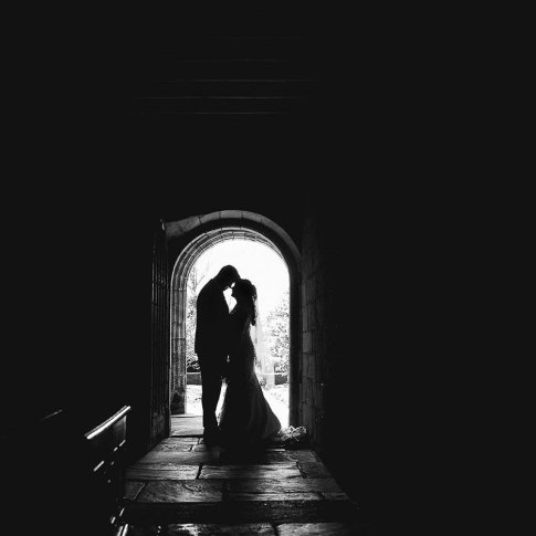 black and white silhouetted wedding photograph at East Riddlesden