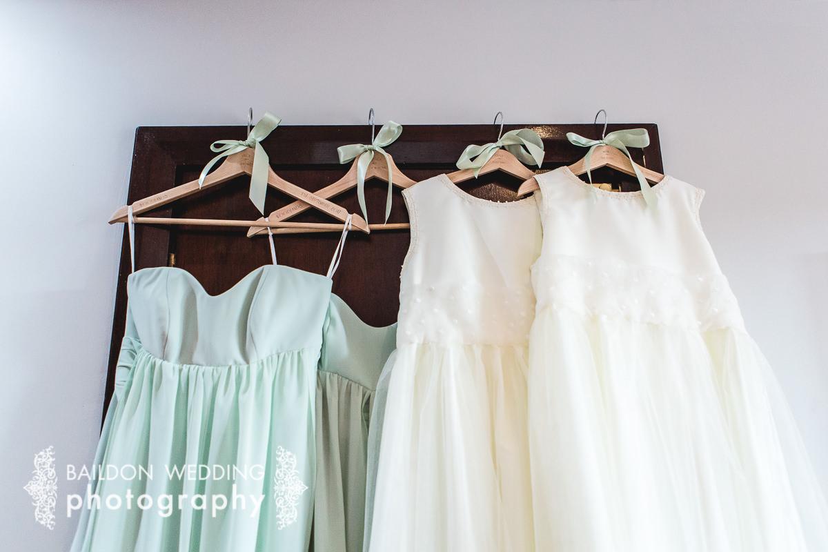 dresses hung