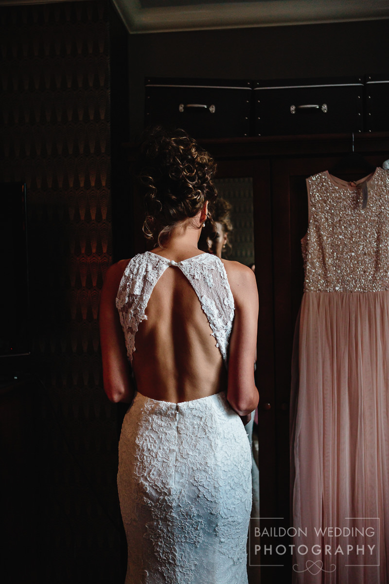 Open backed wedding dress