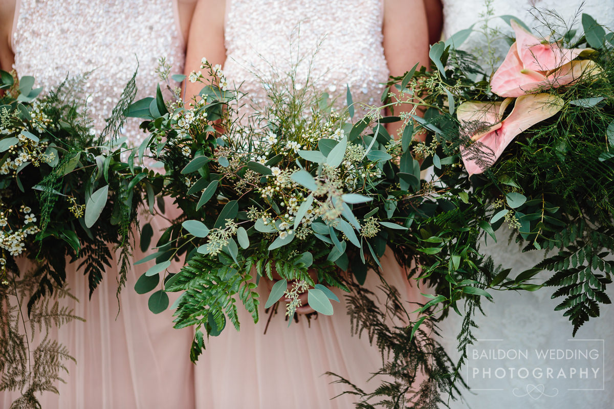 wedding flowers in shades of green for Caribbean themed wedding
