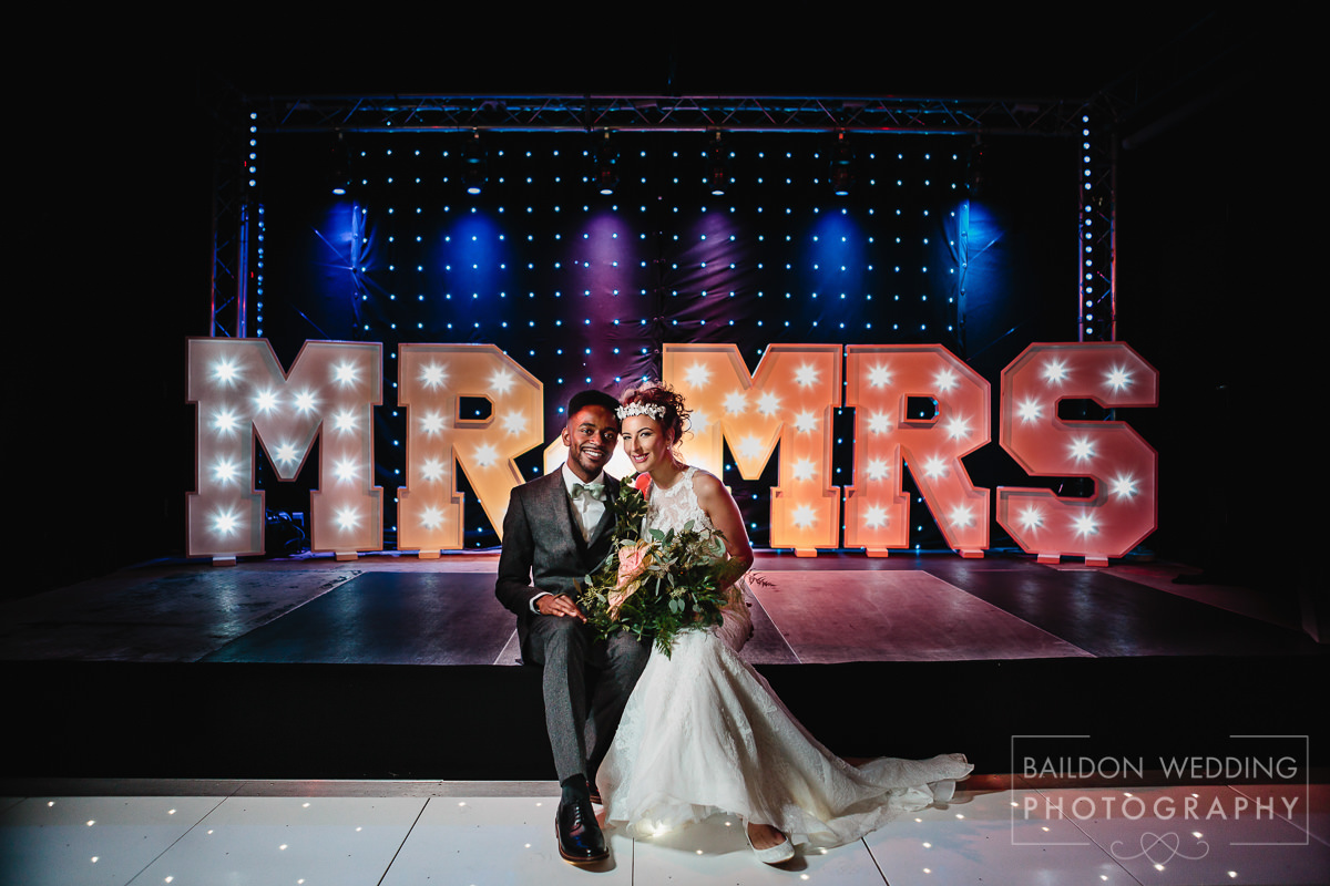 Mr & Mrs light up letters Moorlands Inn wedding marquee