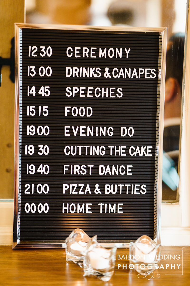 Pin board of wedding timeline