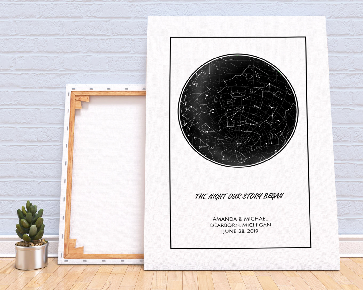 personalized star map canvas print night sky constellation poster
