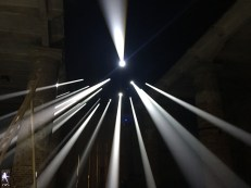 "At the architecture arsenale - 'visible rays of sunlight are called crepuscular rays, or more poetically, angels' stairs. the instillation ""lightscapes"" reproduces this special phenomenon of atmospheric optics and perspective, which we can all observe against the backdrop of a forest or the sky.'"