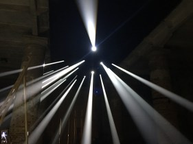 """At the architecture arsenale - 'visible rays of sunlight are called crepuscular rays, or more poetically, angels' stairs. the instillation """"lightscapes"""" reproduces this special phenomenon of atmospheric optics and perspective, which we can all observe against the backdrop of a forest or the sky.'"""