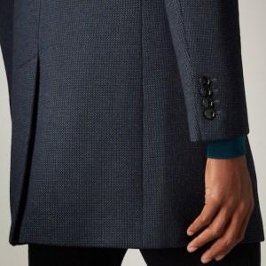 Remus Uomo Wool tapered fit overcoat navy