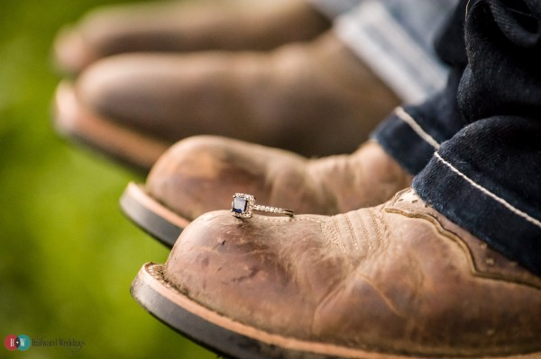 Engagement cowboy boot with ring on it