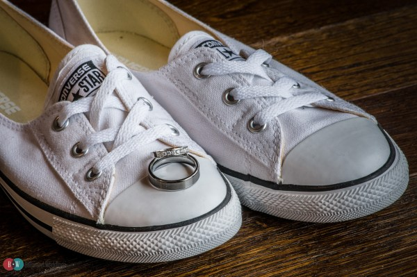 Shoes with wedding ring on them