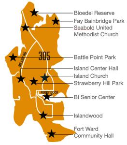 Map of Disaster Hubs on Bainbridge Island