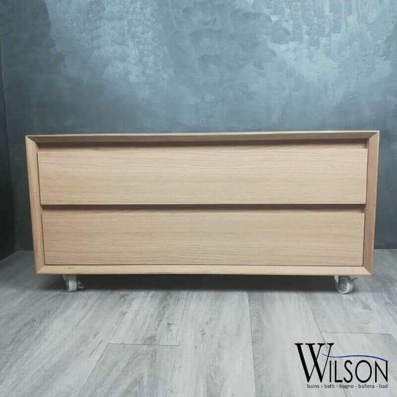 meuble 90 cm 2 tiroirs en chene naturel lea