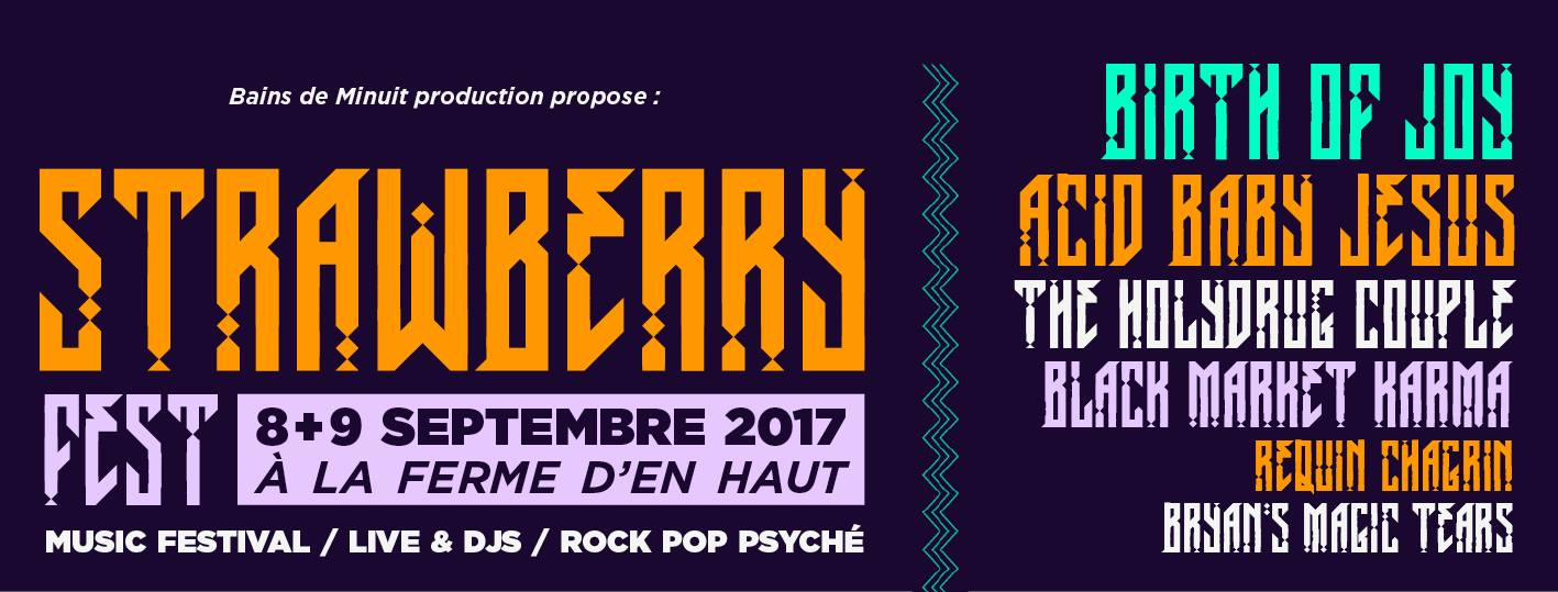 8 & 9 septembre – STRAWBERRY FEST #2 Birth of Joy + Acid Baby Jesus + The Holydrug Couple + Black Market Karma + Requin Chagrin + Bryan's Magic Tears + Lena Deluxe