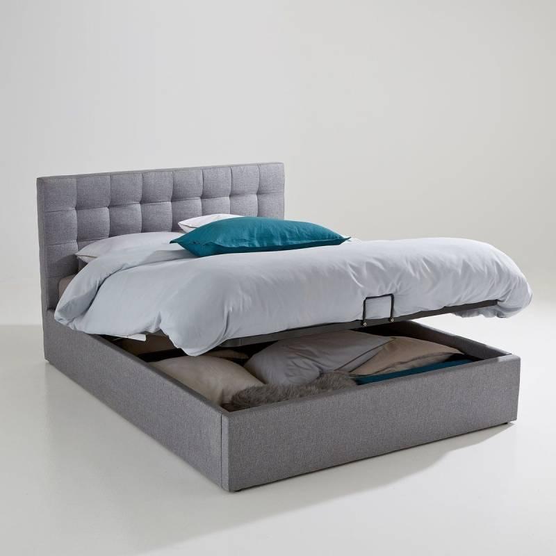 lit gris avec coffre