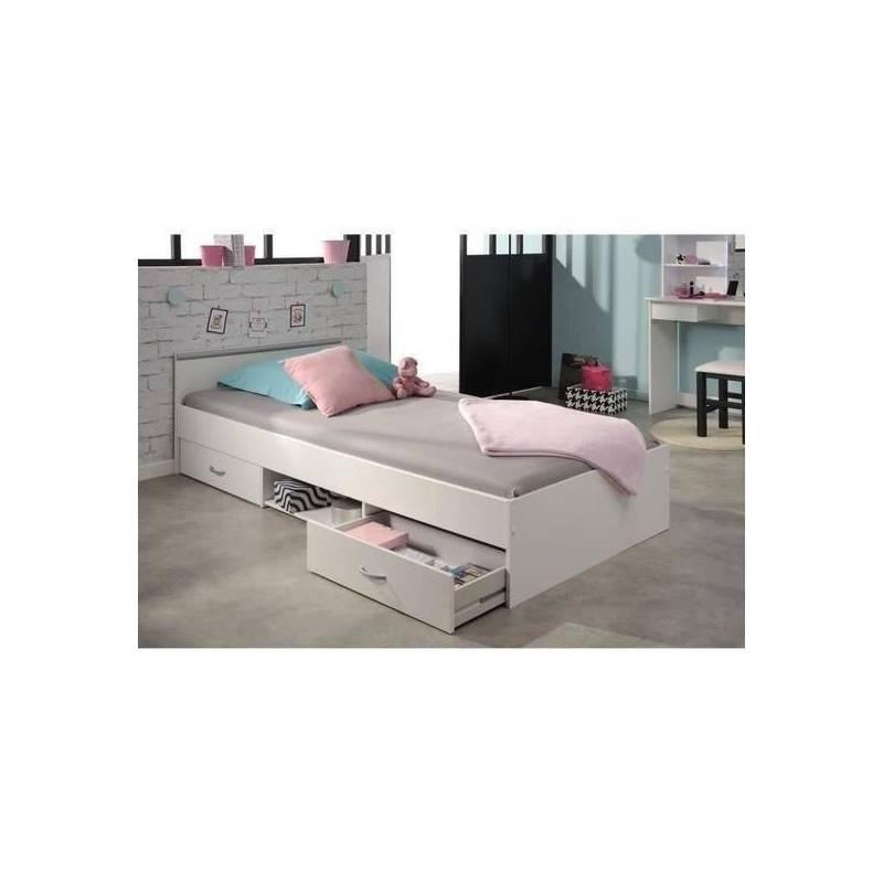 lit avec tiroir blanc