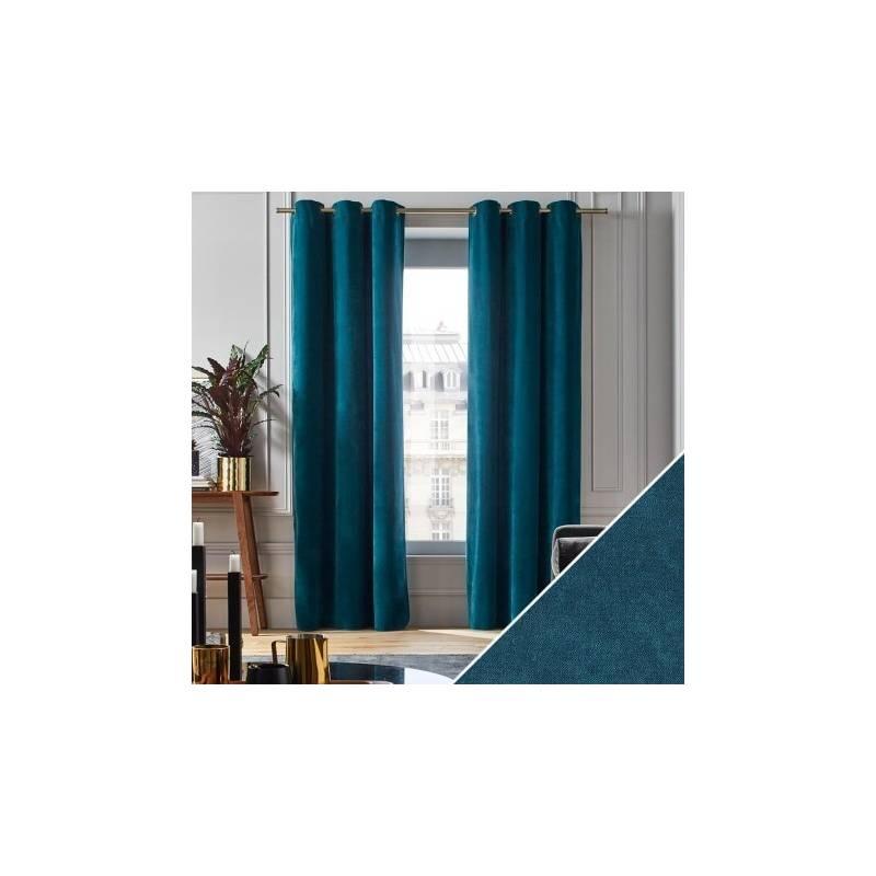 rideaux velours bleu canard