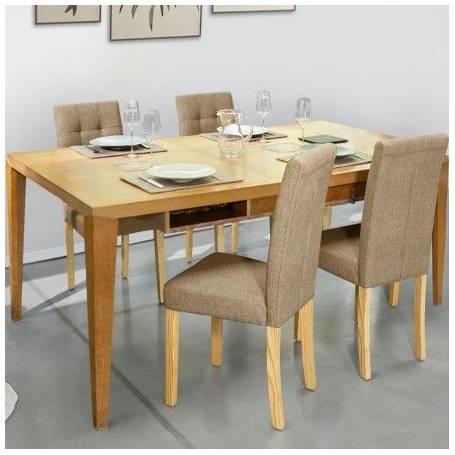 table a manger polga avec 4 chaise capitonnees beige