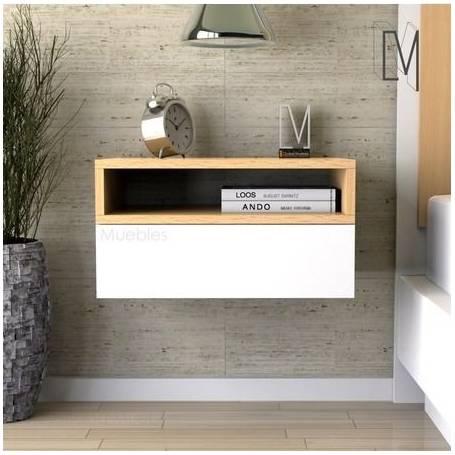 table de nuit suspendu 50 35 30 cm blanc chene
