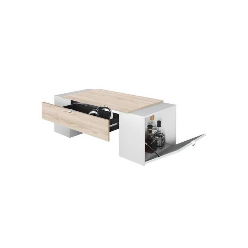 table basse avec 2 caisson lucky 123 55 42 cm