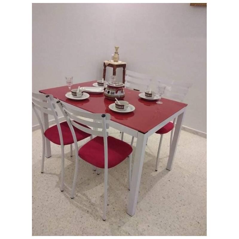table cuisine luxy 4 chaises 110 70cm blanc rouge