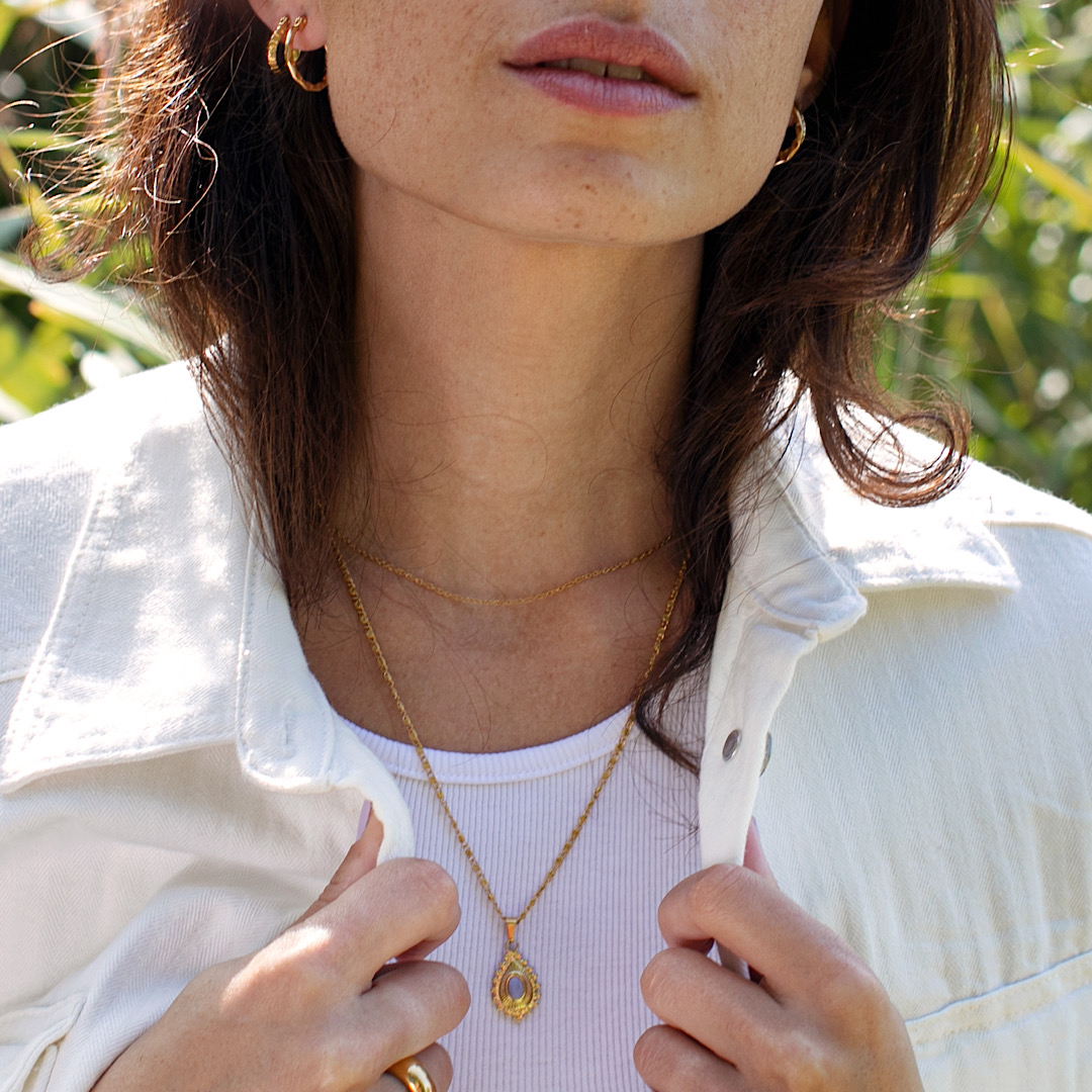 Gold plated pendant necklace waterproof jewelry