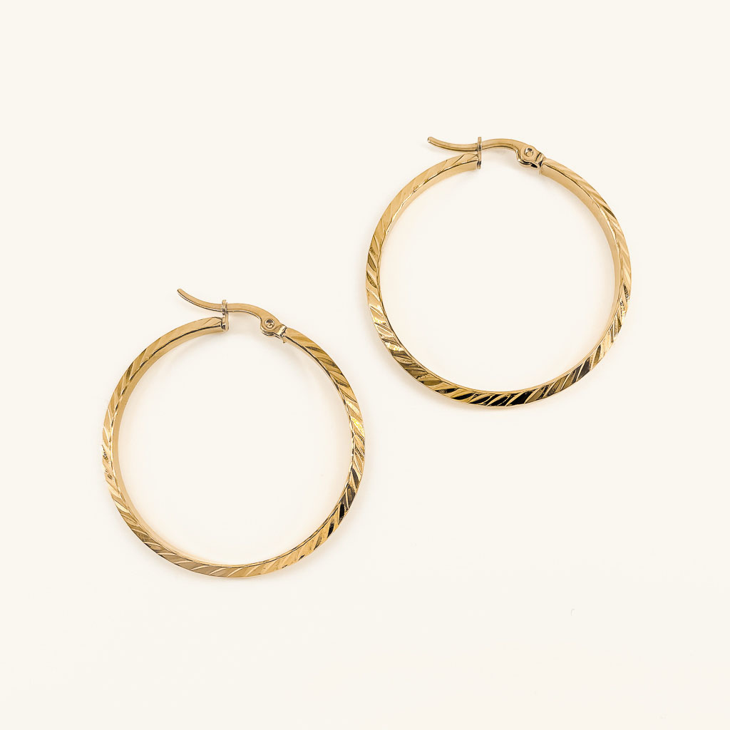 Gold plated Blossom hoops earrings jewelry