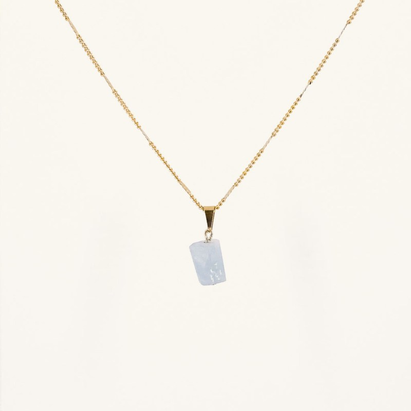 Gold plated gemstone pendant necklace waterproof jewelry