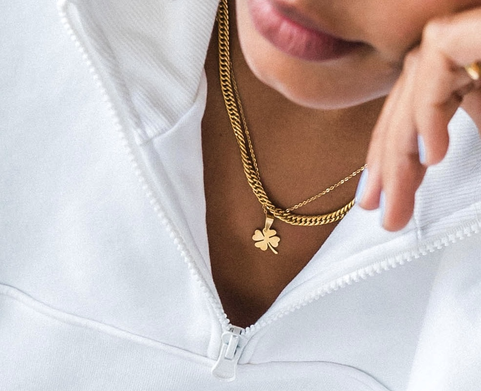 Photo of the Jamie and Lucky Lucy necklace gold plated waterproof jewelry
