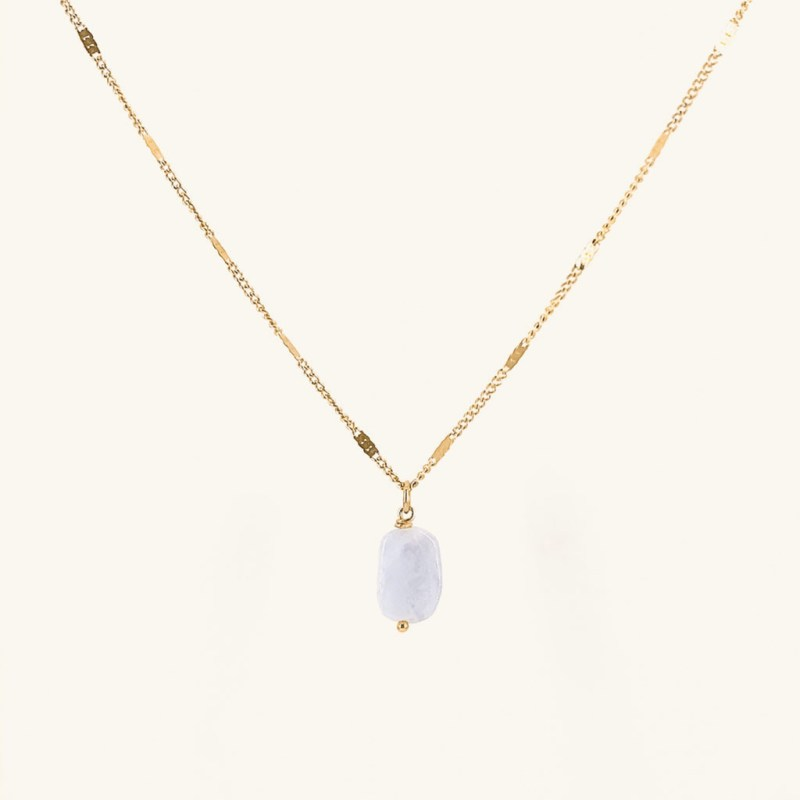 Gold plated Mollie necklace with gemstone pendant waterproof jewelry