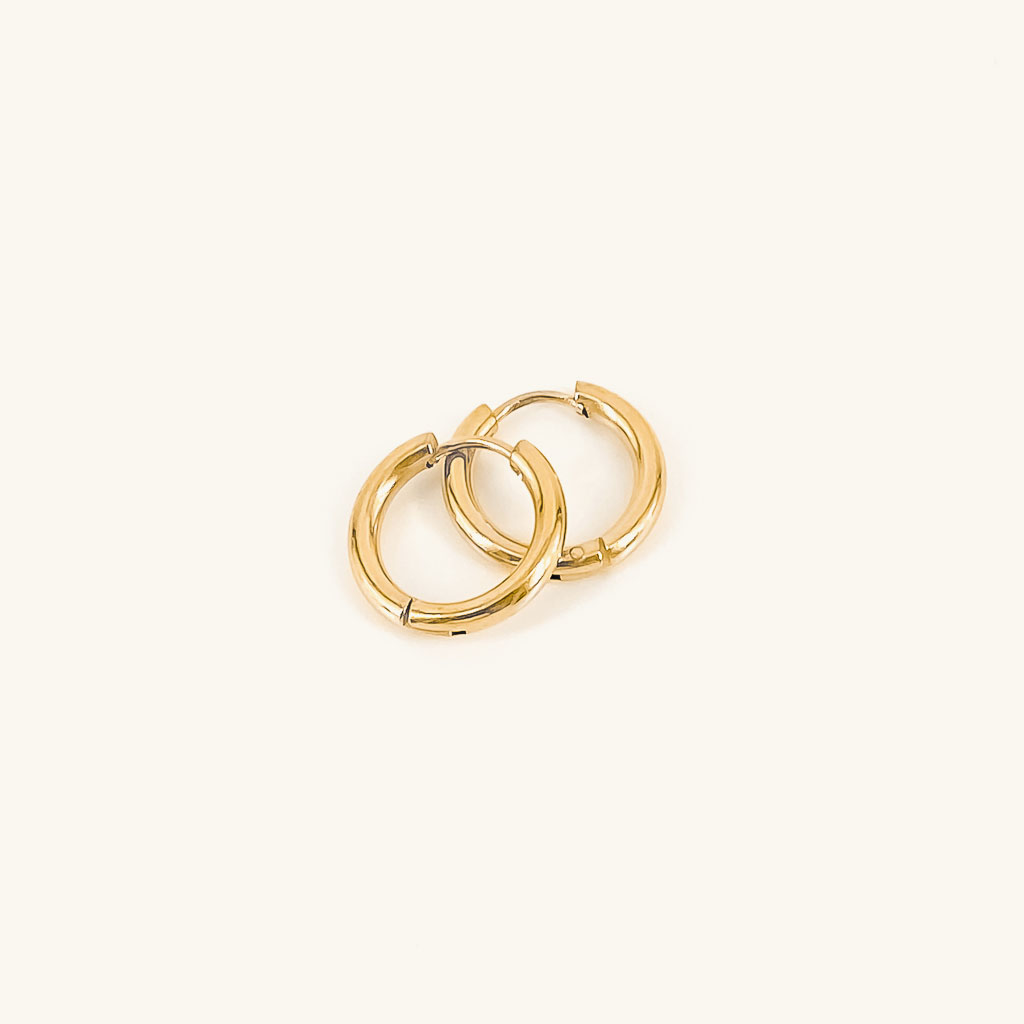 Gold plated basic hoops earrings jewelry