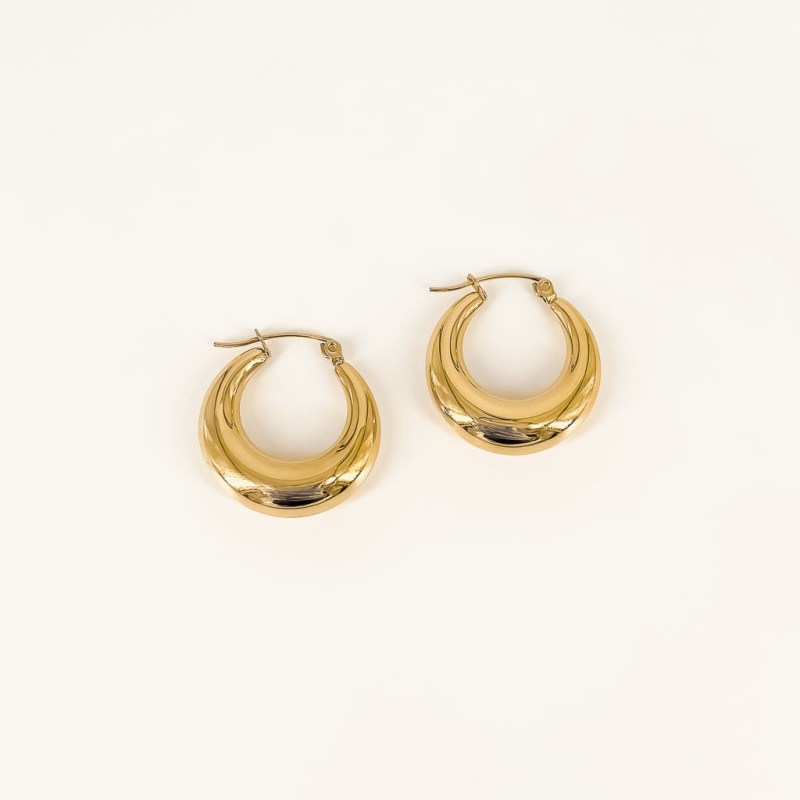 Farrah hoops gold plated waterproof earrings