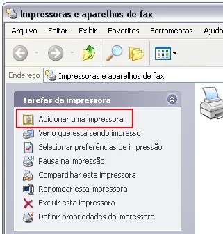 Adicionando a impressora no Windows XP.