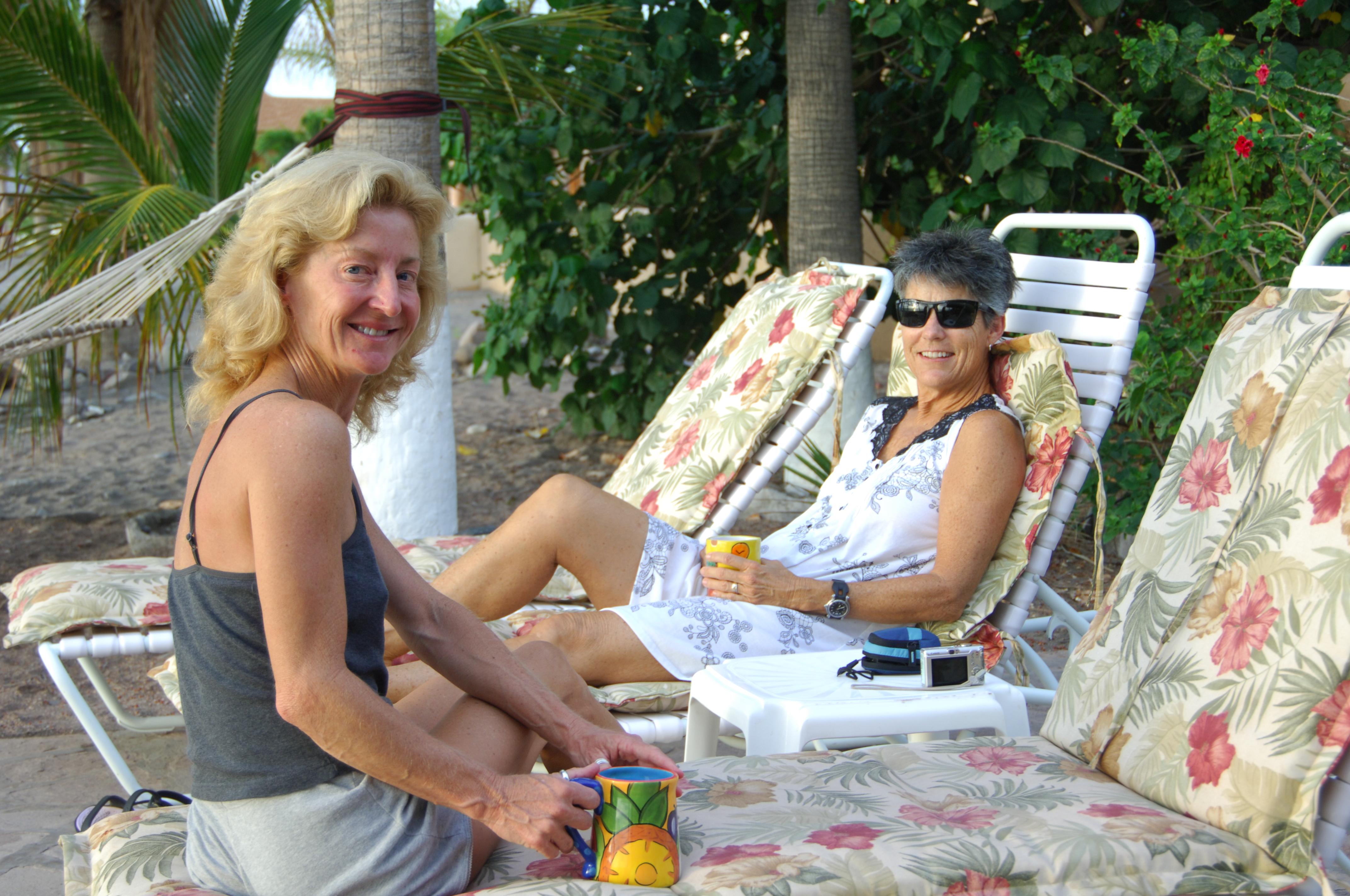 Cathy & Betsy enjoy the morning.