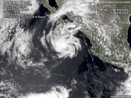 Satellite imagery: Hurricane Blanca June 7th, 1pm Baja Sur Time.