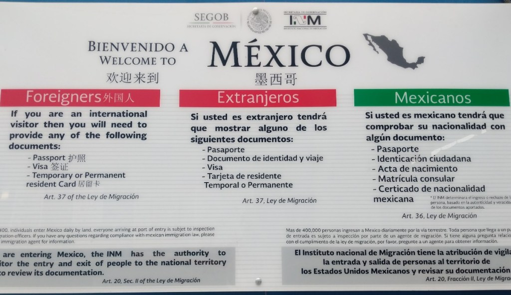 Documentation Required when entering Mexico