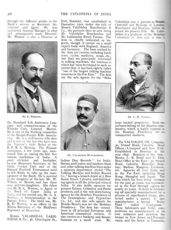 Valabhdas Runchordas - Cylopedia of India Page 386, 1908
