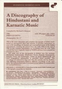 A Discography of Hindustani and Karnatic Music - Michael Kinnear