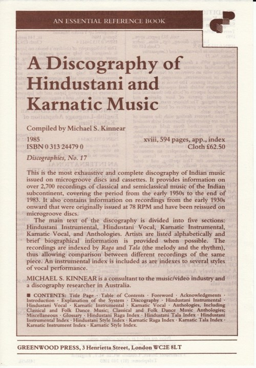 A Discography of Hindustani and Karnatic Music - Michael Kinnear