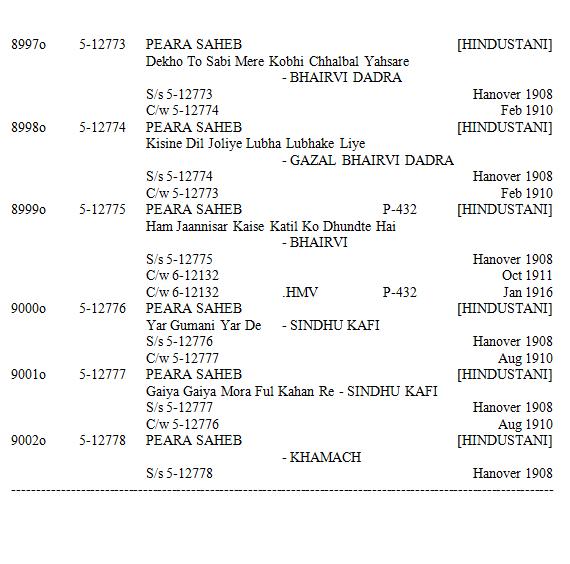 Peara Saheb - Discography