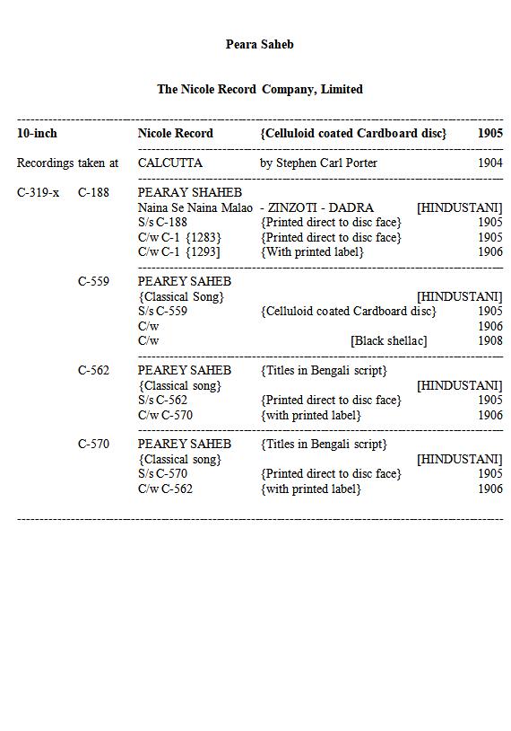 Peara Saheb Discography, Page 1