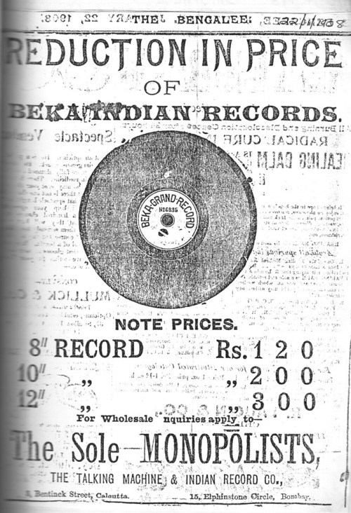 Beka Record, Indian Repertoire, 1908 Advertisement