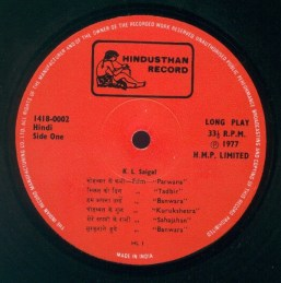 K.L. Saigal, Hindusthan Record, LP 141809992, Side One